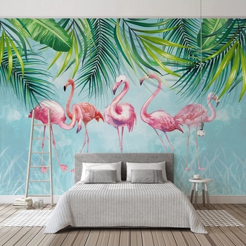 Custom Mural Papel De Parede 3D Hand Painted Green Leaves Flamingo Wall Painting Bedroom Living Room Background Wallpaper Murals free shipping custom 3d large murals entrance bedroom living room sofa background wallpaper ivy covered wall mural wallpaper