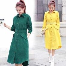 Женское осенне-зимнее платье зеленое, желтое винтажное женское платье с длинными рукавами, свободные вельветовые платья с карманами