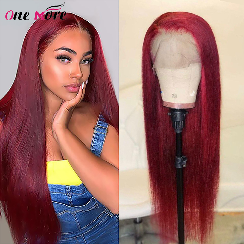 99J Burgundy Lace Front Wig Pre Plucked Straight Human Hair Wigs 150% 180% 1b 99j Ombre Lace Front Wig Colored Human Hair Wigs
