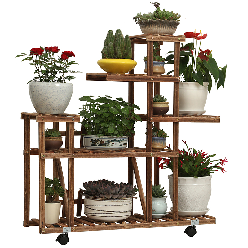 Flower Shelf Solid Wood Balcony Living Room Fleshy Antiseptic Plant Green Radiant Flower Pot Wrought Iron Indoor Space