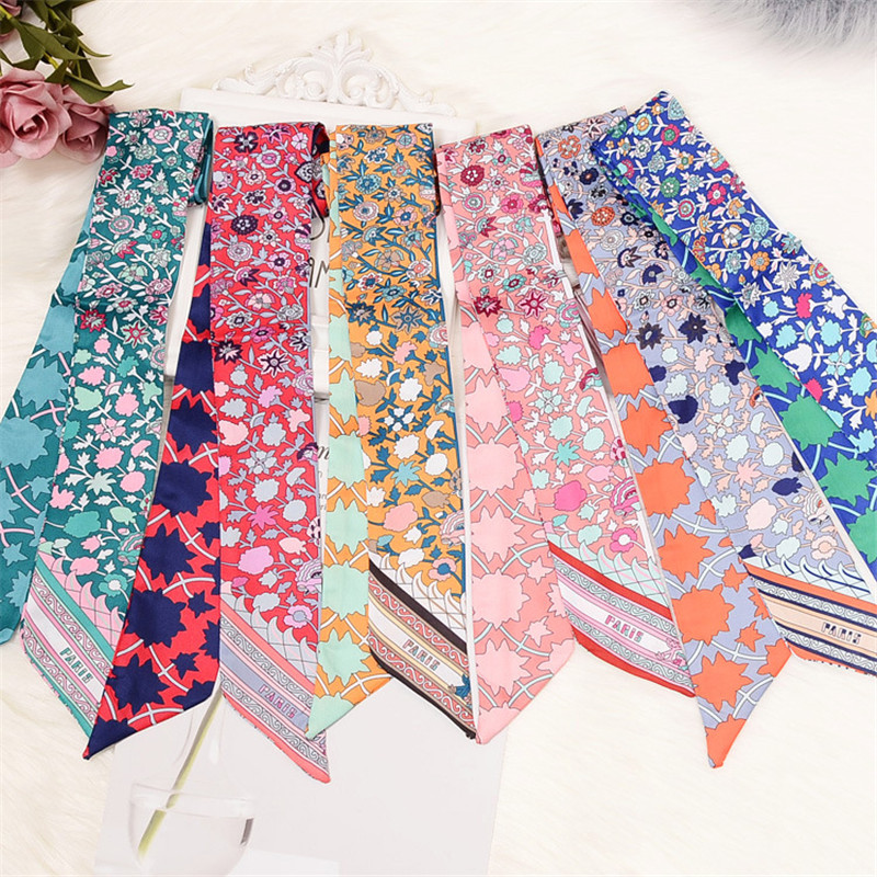 Bag Scarf 2020 New Floral Print Women Silk Scarf Skinny Bag Ribbon Female Headband Fashion Head Scarf Long Scarves & Wraps