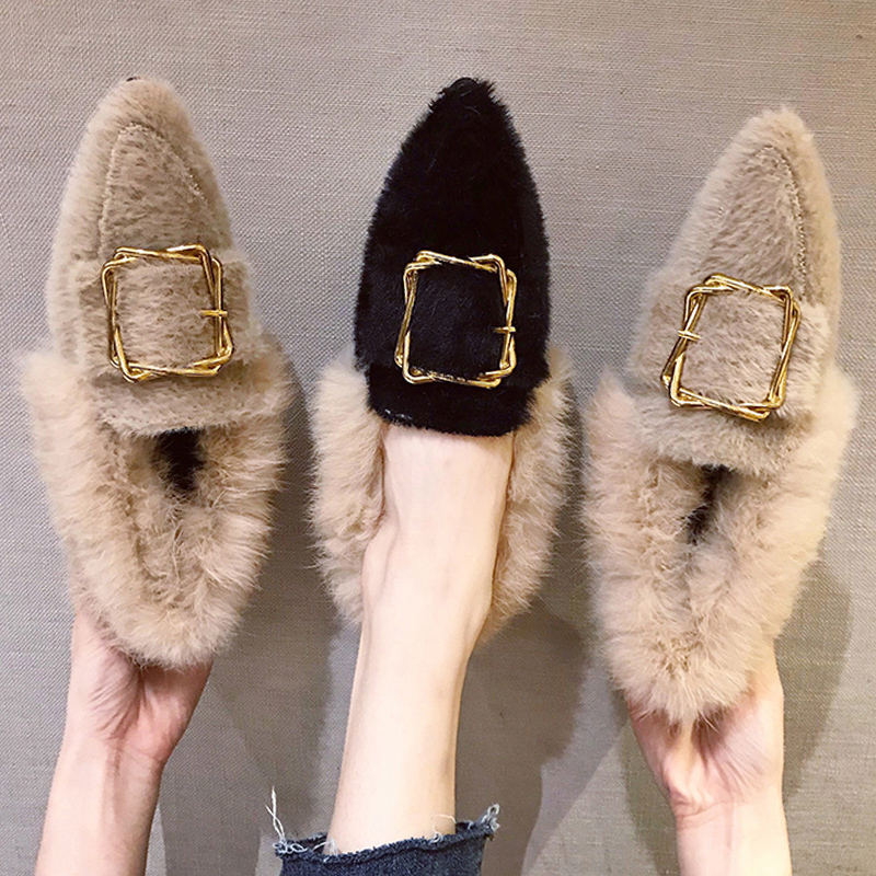 pointed toe mink hair long fur loafers chunky heels metal decoration buckle slip-on moccasins all match furry plush espadrilles 103