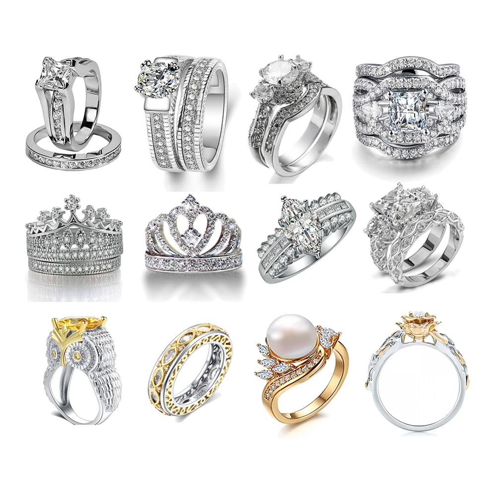 12 pieces Fashion Women Jewelry Ring White Zircon CZ Silver Color Engagement Rings wedding Rings Party Ring Gift