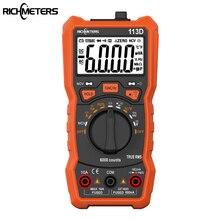 Richmeters multímetro digital RM113D NCV, com medidor de voltagem AC/DC com faixa automática de 6000 contagens, retroiluminado com tela grande 113A/D