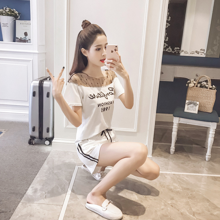 Short Sleeve Striped Gauze Set 2019 Summer New Style WOMEN'S Dress Korean-style Fashion Students Loose-Fit Graceful Shorts