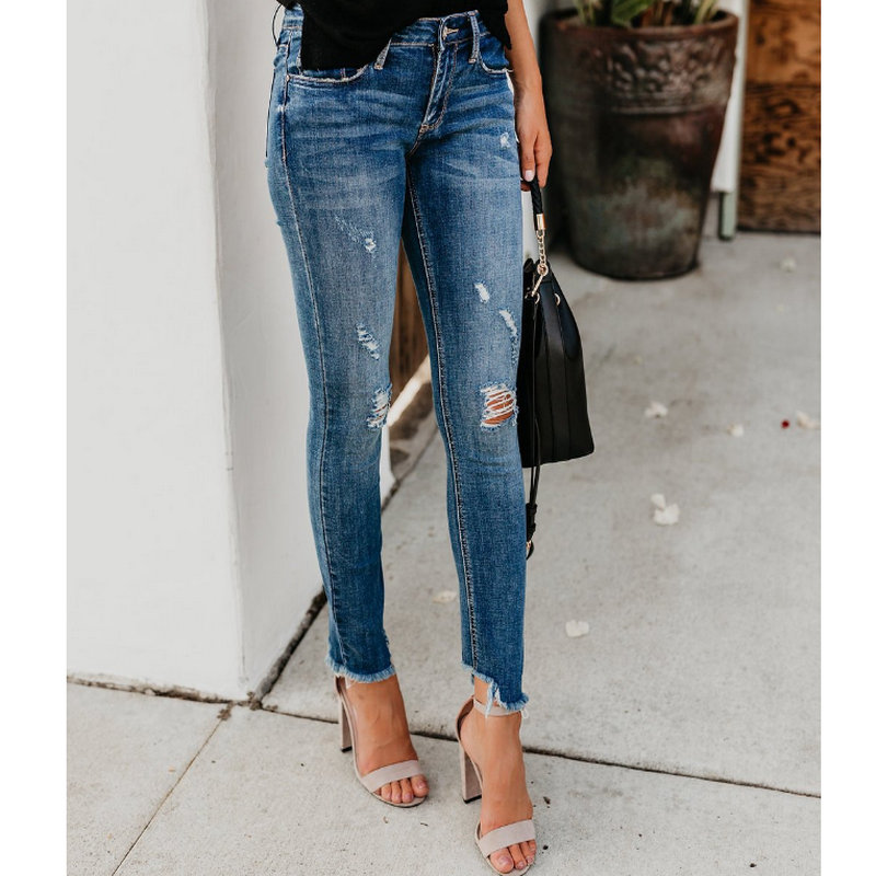 2020 New Style Fashion Solid Blue Woman Jeans High Street Hole Pants 1007