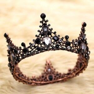 Baroque haut couronne casque noir cristal cheveux accessoires anniversaire petite couronne diadèmes pour femmes strass filles mariée mariage