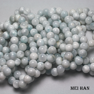 Image 2 - Wholesale 10 10.5mm (1 bracelet/set) natural cheap Dominica larimar bracelet for jewelry DIY making design