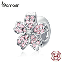 bamoer Pink Cherry blossom Flower Charm Stopper for Women 925 Sterling Silver Charms Bracelet & Bangle European Jewelry SCC1291
