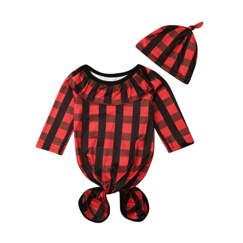 Newborn Baby Swaddle Wrap Blanket Sleeping Bag Infant Cotton Red Plaid Sleepwear Suit -24M