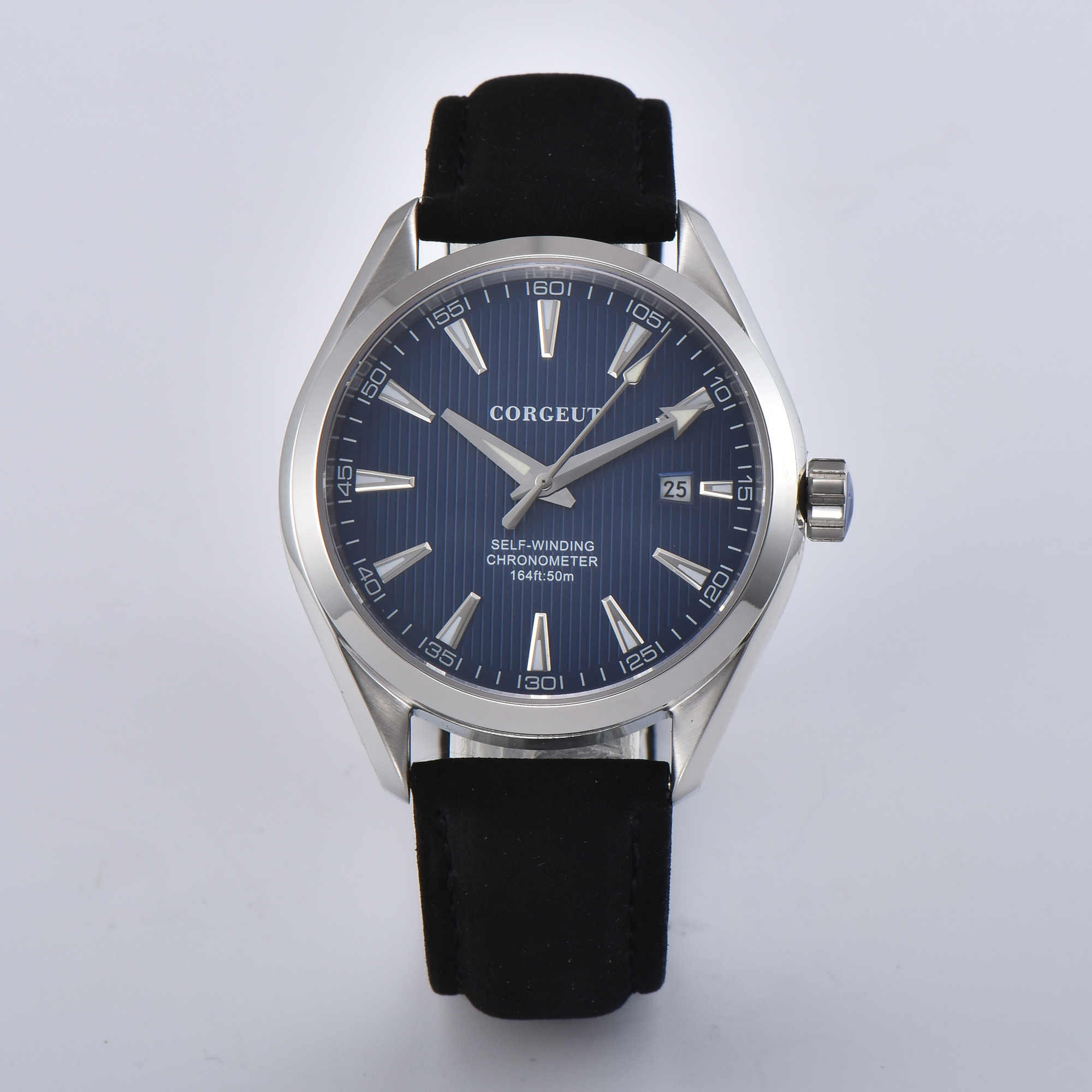 CORGEUT 41mm  Blue Dial Date Sapphire Glass luminous  Genuine leather Automatic Men's Watchs.