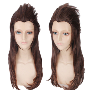 Image 2 - Game Sally face Sallyface Larry Cosplay Wig 65cm Long Brown Styled Heat Resistant Synthetic Hair Wig + Wig Cap