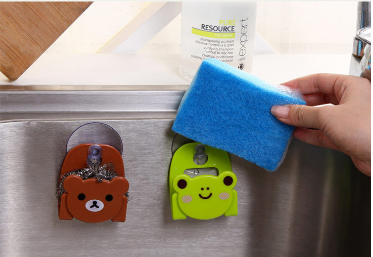 Cat Dish Cloth Sponge Rag Holder With Suction Cup Dinning Room Bear Cartoon With Suction Cup Kitchen Accessories Organizer Tools