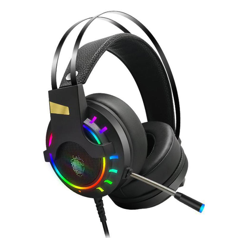 K3 Gaming USB Headphone RGB Light Noise-canceling 2.2m Stereo Wired Headset With Mic Earphone for PS4 PC Computer Laptop
