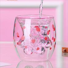 Стеклянные кружки, стеклянная кружка с двойными стенками, двухслойная стеклянная кружка с изображением медведя, кота, собаки, животного, ко...