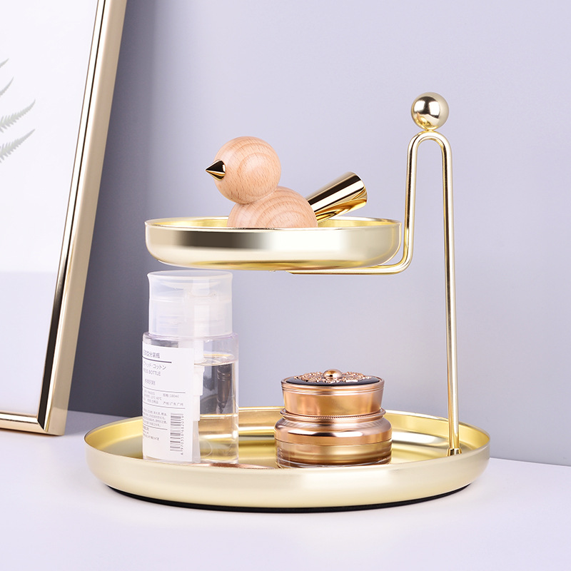 Small Golden Metal Storage Tray Jewelry Storage Plate Cosmetic Organizer Necklace Ring Earring Display Rack Home Desk Decoration image