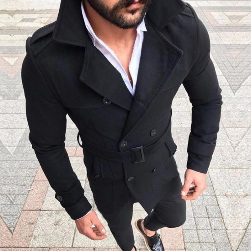 2020 New Trench Coat Men Classic Double Breasted Mens Long Coat Mens Clothing Long Jackets Coats British Style Overcoat
