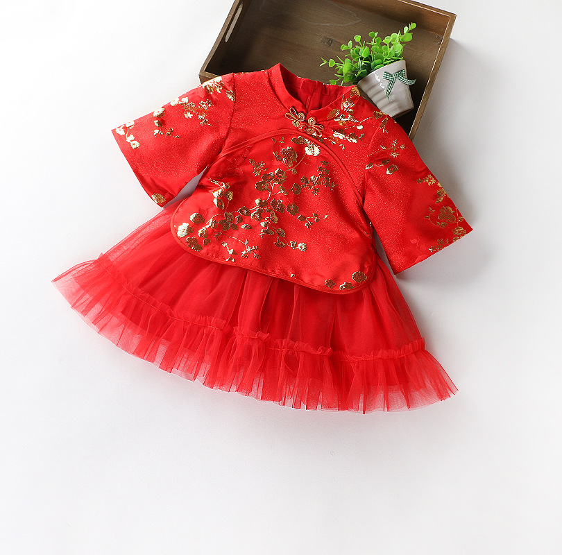New Year-Autumn And Winter plus Velvet Girls Plum Half-sleeve Shirt jia er jian Dress Baby GIRL'S Retro Cheongsam Chinese Costum