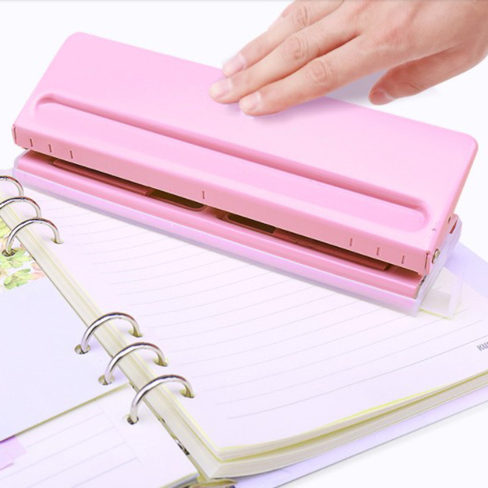 1PCS 6 Holes Adjustable Stapler Loose-Leaf Standard Puncher Paper Home Office Binding Supplies Student Stationery Equipment