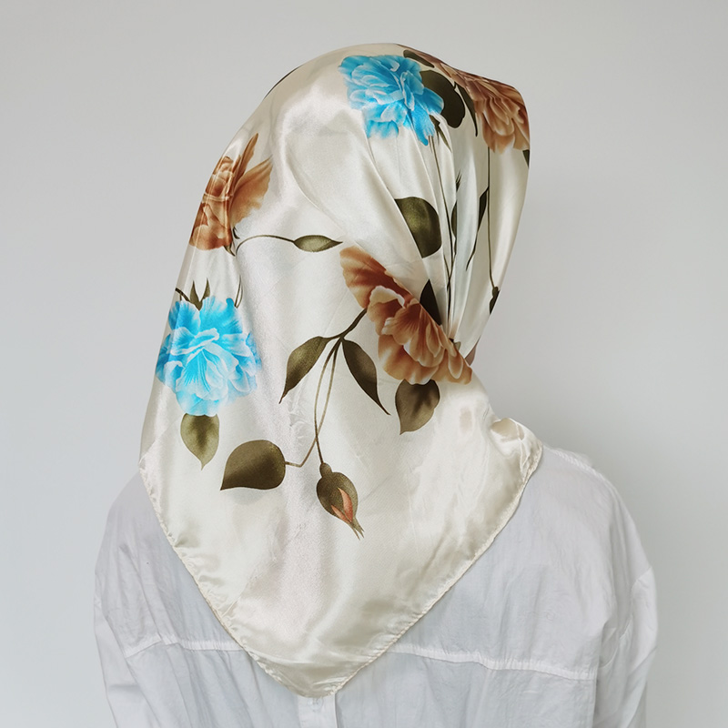 Popular Kerchief Silk Satin Neck Scarf For Women Print Hijab Scarfs Female 90*90cm Square Shawls And Wraps Scarves For Lady