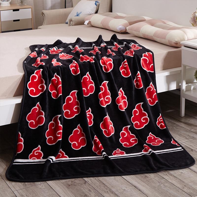 Red Anime Naruto Shippuden Akatsuki Soft Warm Coral Fleece Throw Red Cloud Blanket Bed Rug Dropship 120x150/ 150x200cm Kids Gift