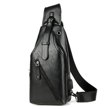New Pu Leather Chest Bag Mens Single Shoulder Business Casual Sling Men Pack