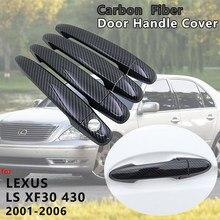 Lexus LS için XF30 430 2001 2002 2003 2004 2005 2006 4 adet karbon Fiber kapı kulp kılıfı Trim yakalamak araba kapak etiketleri aksesuarları