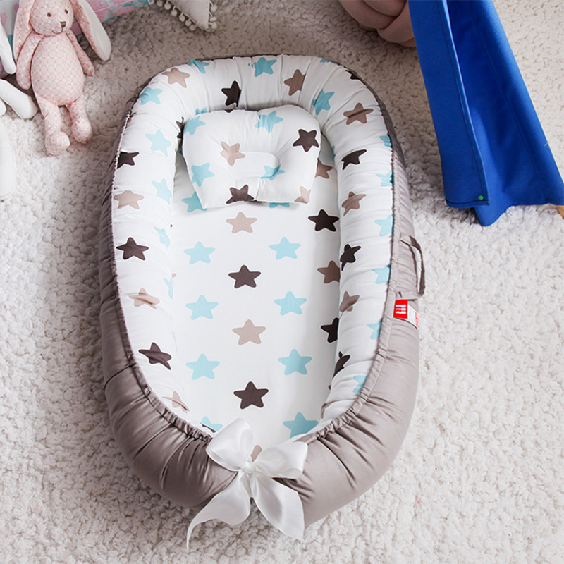 Portable Baby Bed Nest Newborn Crib For Boys Girls Pillow Cushion Travel Bed Infant Cradle Cot Sleeping Bed