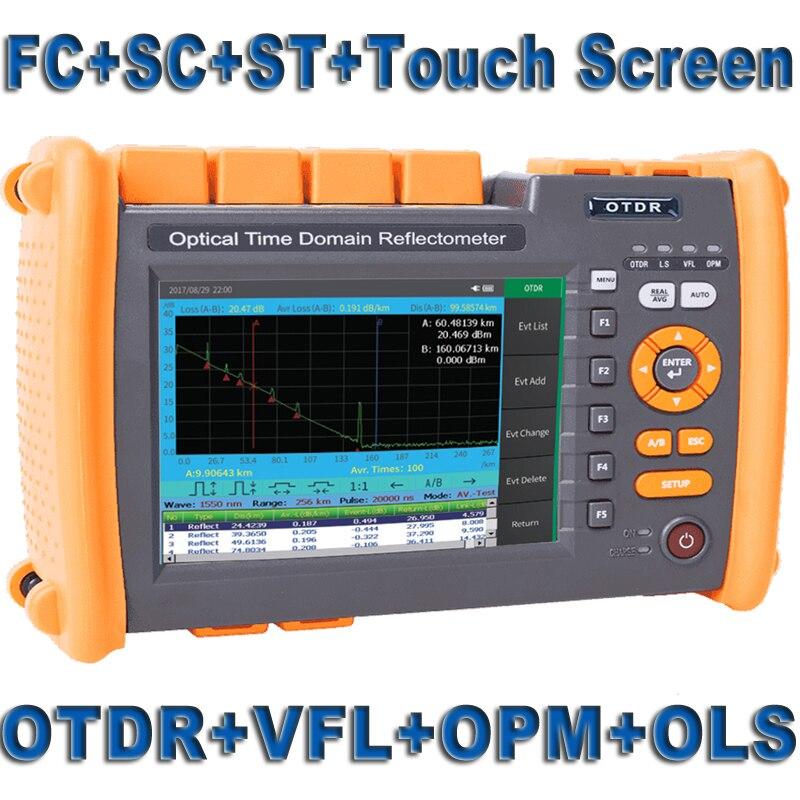 De fibra Óptica de Fibra Óptica OTDR Reflectometer Construído em VFL OLS OPM com FC SC ST Touch Screen Imprimir Relatório 1310nm 1550nm 32 30dB