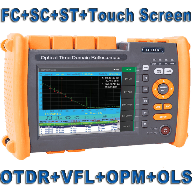 Fiber Optic OTDR Optical Fiber Reflectometer Built In VFL OLS OPM With FC SC ST Touch Screen Report Print 1310nm 1550nm 32 30dB