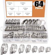 Kit d'assortiment de colliers de serrage pour tuyaux, set de 64 pièces, ajustables, 8 à 38mm de diamètre, engrenage à vis sans fin, pour différents tuyaux, utilisation mécanique automobile
