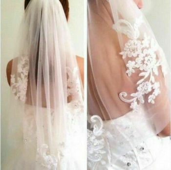New White/Ivory Lace Wedding Veil Elbow Bridal Veil Bridal Accessories With Comb