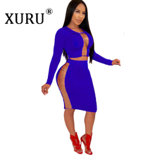 XURU2019 autumn new womens dress two-piece tulle patchwork O-neck long-sleeved tight-fitting sexy