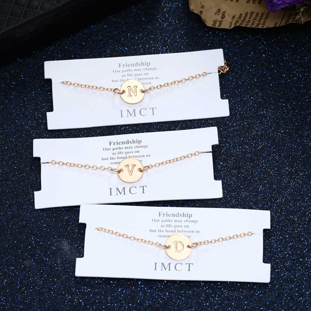 Nowy projekt A-Z list Pandent bransoletki dla kobiet regulowany złoty łańcuszek klasyczna para biżuteria dla dziewczyny najlepszy festiwal prezent