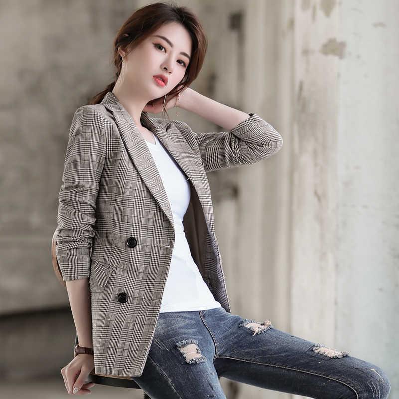 Frauen Blazer und Jacken 2019 Herbst Casual Zweireiher Weibliche Blaser Plus Größe S ~ 3XL Vintage Frau Plaid Blazer mäntel
