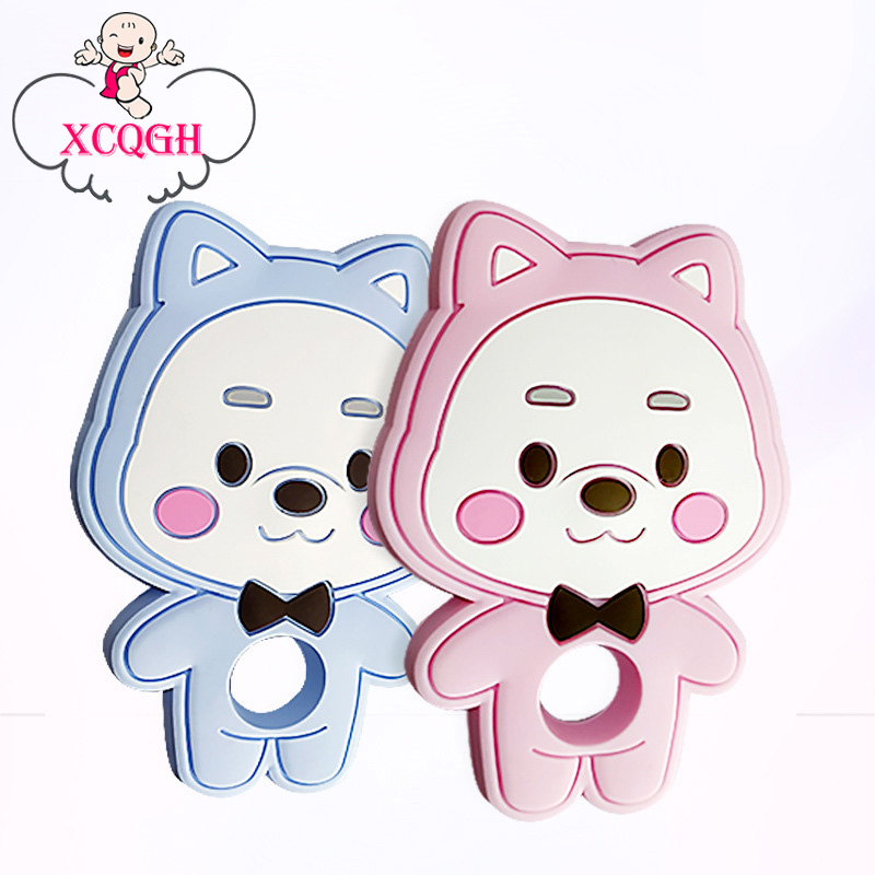 XCQGH 1PCS Silicone New Baby Animal Bear Teether Molar Toys Food Grade Baby Silicone Teether