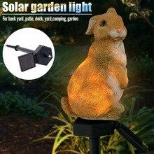 Solar Powered Rabbit Bunny LED Light Waterproof Energy-Saving Lamp for Home Garden _WK