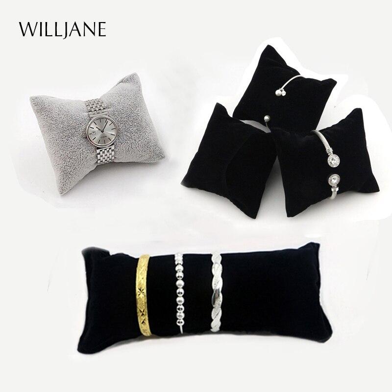 Black/Grey Velvet Bracelet Pillow Display Holder Watch Packaging Organizer Wholesale Bangle Soft Cushion Collection Storage Case