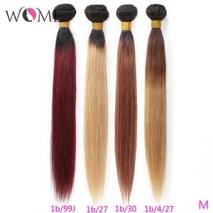 Image 1 - Kadın ön renkli saç demetleri brezilyalı düz saç gölgeli insan saçı demetleri 1b/99j 1b/27 1b/30 iki tonlu Ombre olmayan remy saç