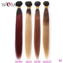 Wome מראש בצבע שיער חבילות ברזילאי ישר שיער Ombre שיער טבעי חבילות 1b/99j 1b/27 1b/ 30 שני טון Ombre ללא רמי שיער