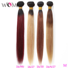 Wome Pre colored Hair Bundles Brazilian Straight Hair Ombre Human Hair Bundles 1b/99j 1b/27 1b/30 Two Tone Ombre Non remy Hair