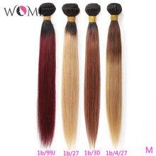 Wome pré colorido pacotes de cabelo brasileiro em linha reta ombre cabelo humano feixes 1b/99j 1b/27 1b/30 dois tons ombre não remy cabelo