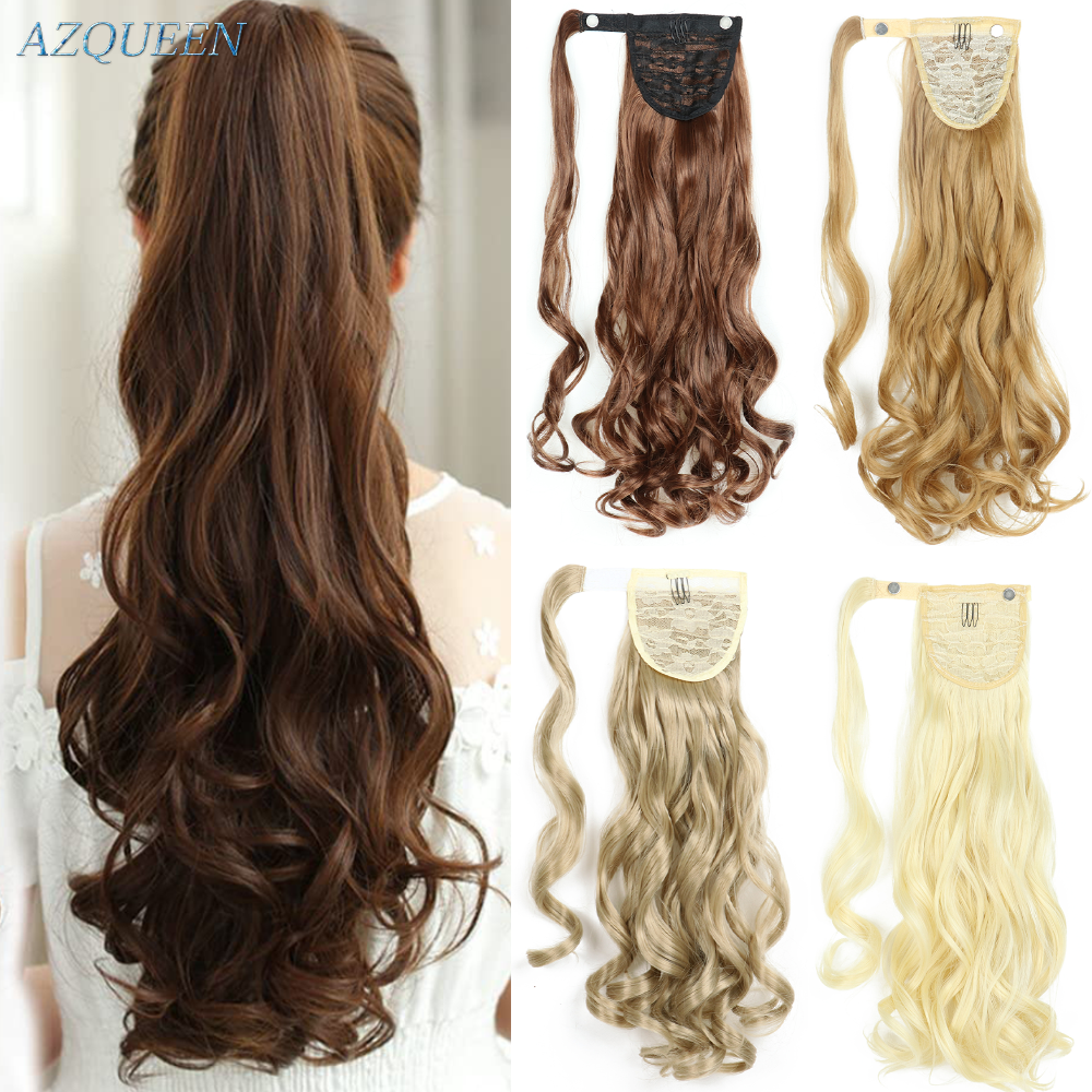Long Wave Ponytail Wrap Around Ponytail Clip in Hair Extensions  Natural Hairpiece Headwear Brown Gray Synthetic Hair