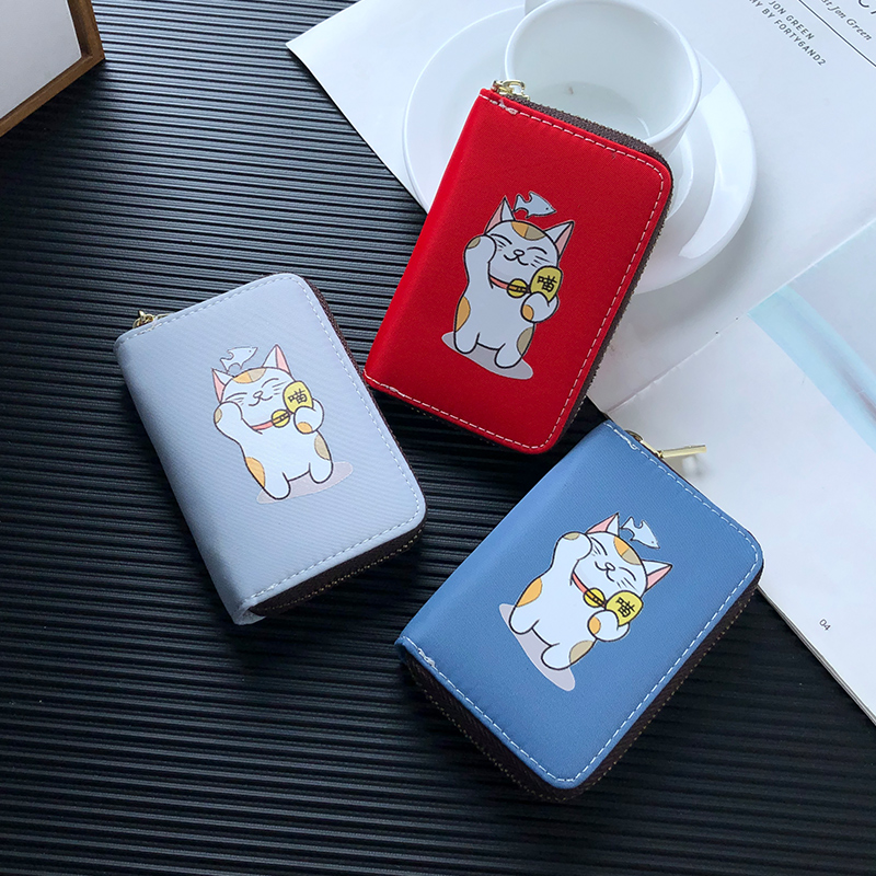 APP BLOG Cartoon Cute Cat Women Card Holder Wallet Anti Degaussing Bank ID Credit Cards Case Bag Coin Purse For Document 2019 image