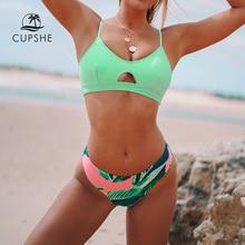 CUPSHE Neon Palm Druck Low taille Bikini Sets Sexy Cut Out Padded Badeanzug Zwei Stück Bademode Frauen 2020 Strand badeanzüge