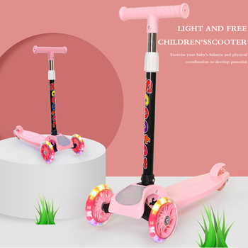 Kids Folding Scooter Children 3-Wheel Kick Scooter With Adjustable Height Flashing Wheel For Toddler Girls Boy Outdoor Bike