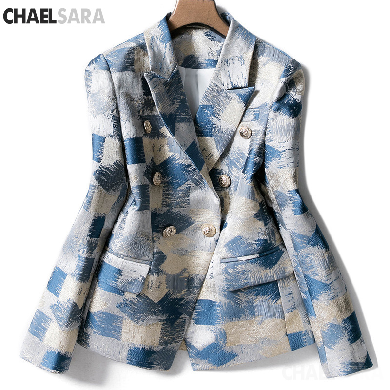 Fashion Runway Designing Women Notched Double Breasted Plaid Graffiti Printing Autumn Casual Blazer Jacket