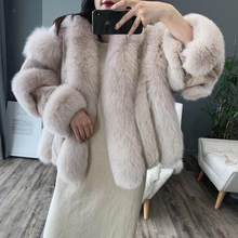 Real fur coat women plus size real fox fur and mink fur coat female leather jacket luxury clothes thick warm fur winter coat women(China)