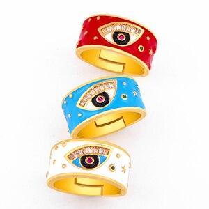 Большой позолоченный Турецкий Дурной глаз кольца для женщин Открытый греческий глаз эмаль Регулируемые кольца CZ кубический цирконий палец...