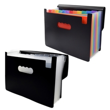12 Pockets Expanding File Folder A4 Organizer Rainbow Color Portable Business File Office Supplies Document Holder with Cover